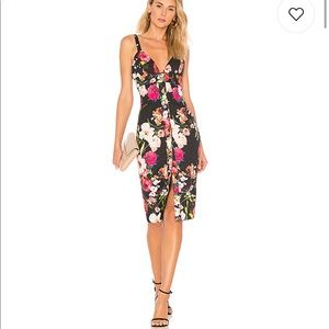 Privacy please black floral midi dress